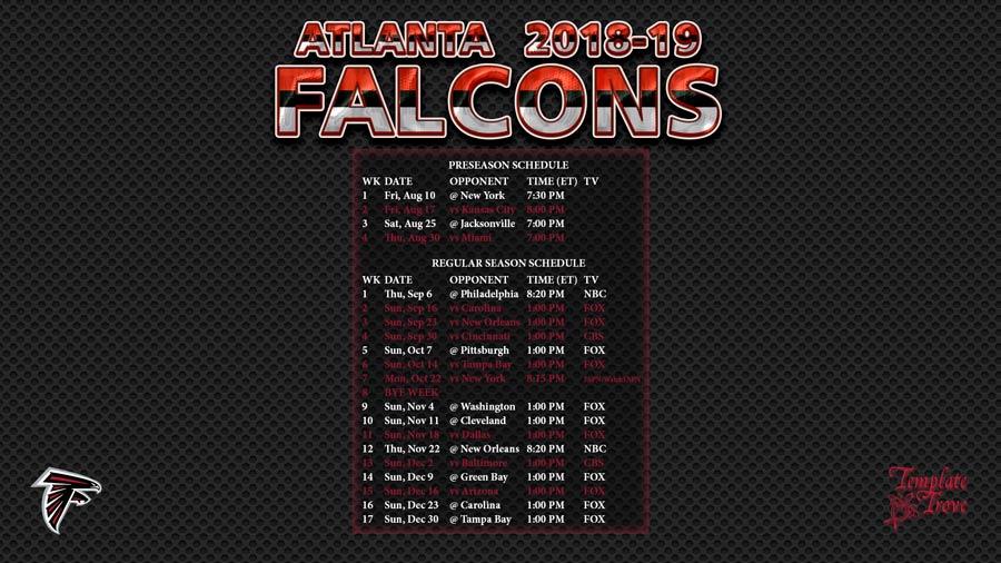 Atlanta Falcons 2018-19 Wallpaper Schedule