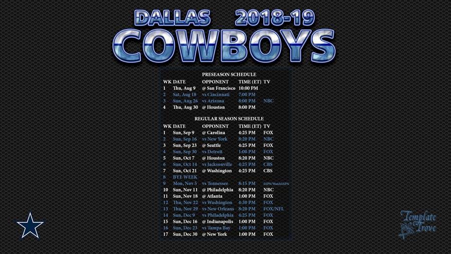 Dallas Cowboys 2018-19 Wallpaper Schedule