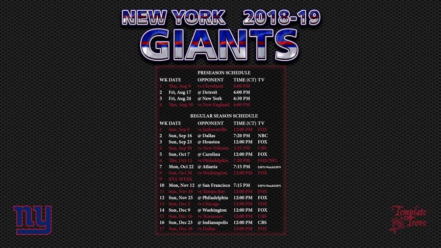 2018 2019 New York Giants Wallpaper Schedule