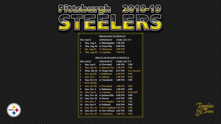 Steelers Season Schedule 2019 2018 2019 Pittsburgh Steelers Wallpaper Schedule