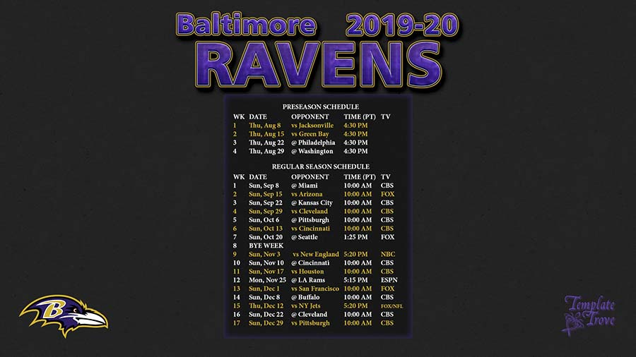 2019-2020 Baltimore Ravens Wallpaper Schedule