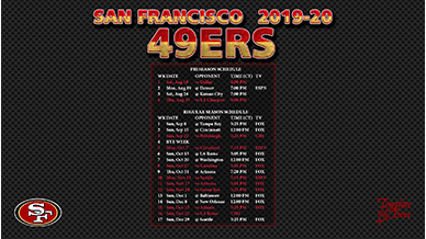 Fabulous image with regard to 49ers schedule printable