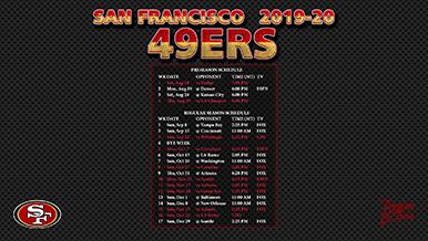 2019 2020 San Francisco 49ers Wallpaper Schedule