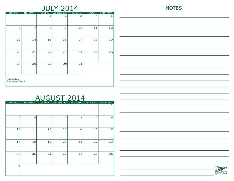2 Month Calendar - 2014