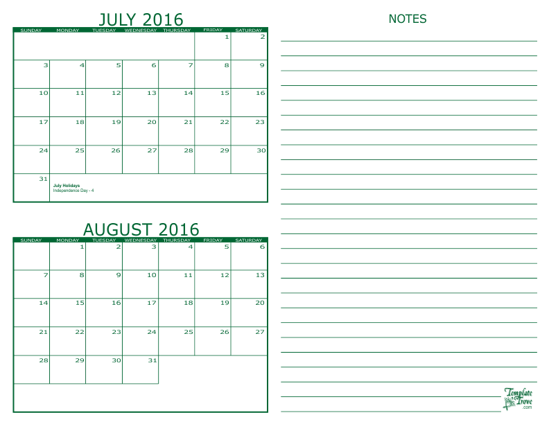 July and August 2016 2 Month Calendar
