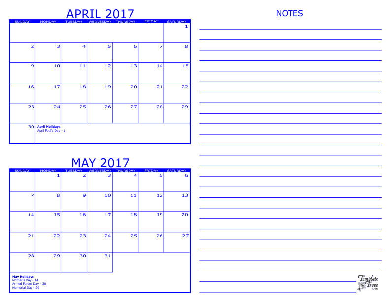 Calendar For April And May : Month calendar