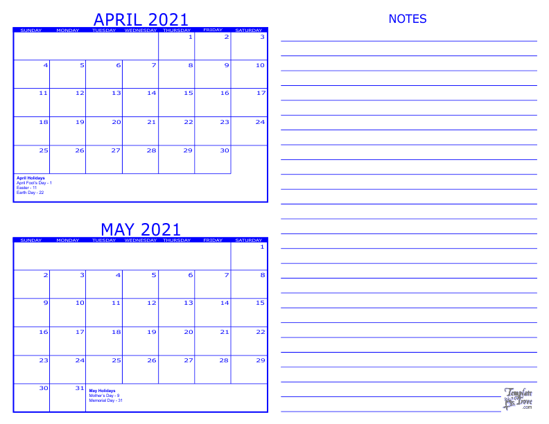2021 2 Month Calendar - April and May