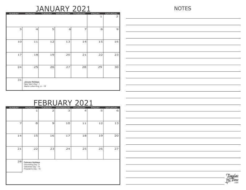 2 Month Calendar - 2021