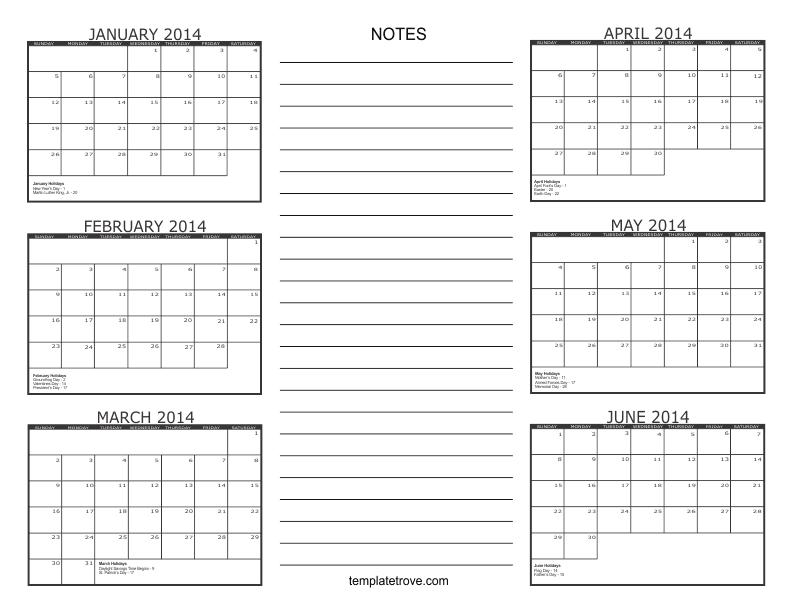 6 month calendar 2014 for 2 month calendar template 2014
