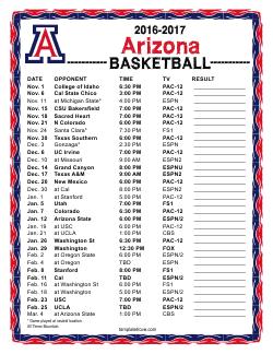 Printable 2016 2017 Arizona Wildcats Basketball Schedule