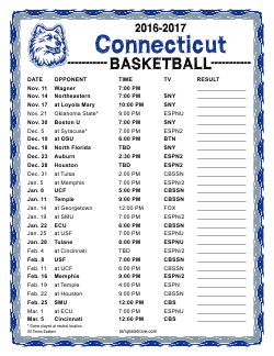 Printable 2016-2017 UConn Huskies Basketball Schedule