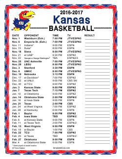 2016-2017 College Basketball Schedules