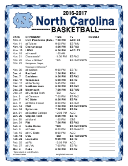 2016-2017 College Basketball Schedules