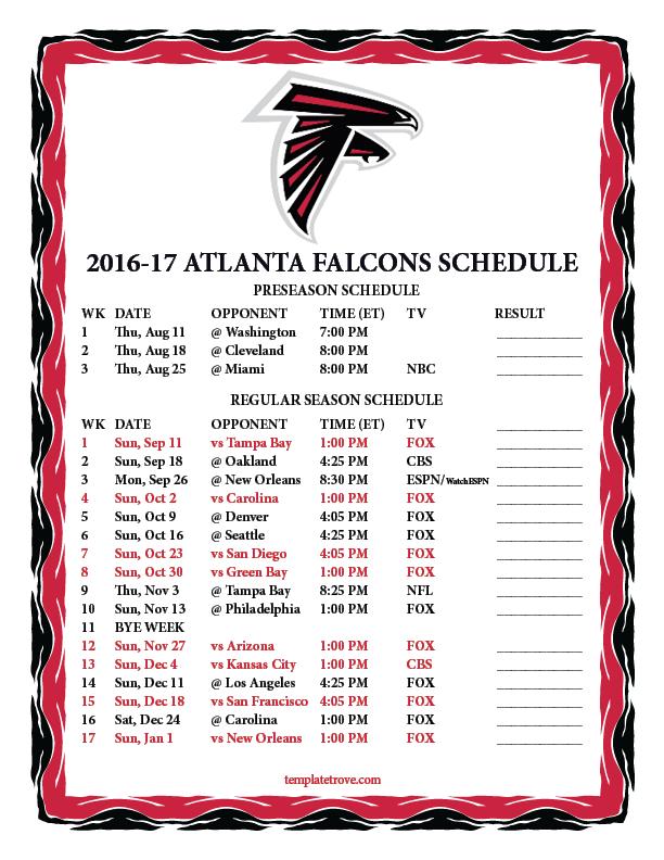 New Orleans Saints 2018 2019 Schedule >> Printable 2016-2017 Atlanta Falcons Schedule