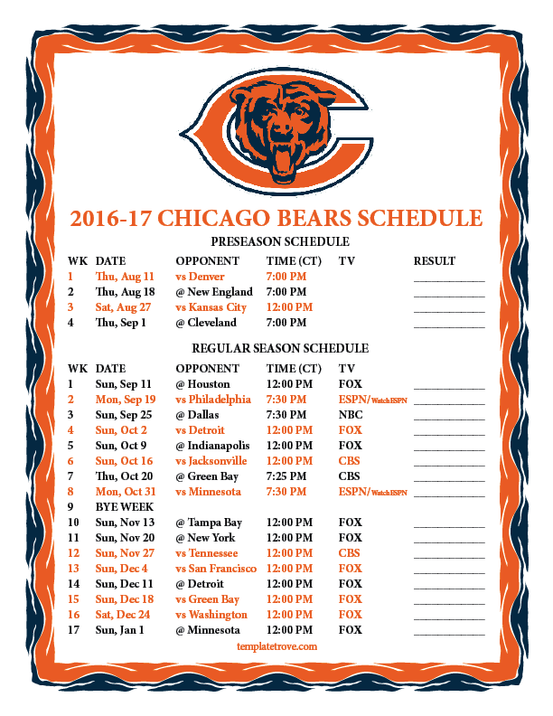 Candid image throughout chicago bears schedule printable