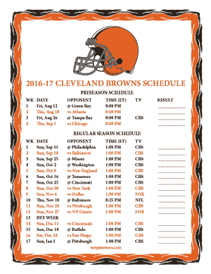 Cleveland Browns 2016-17 Printable Schedule