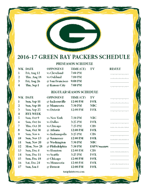 Green Bay Packers 2016-17 Printable Schedule