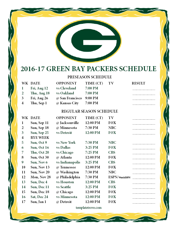 Old Fashioned image within green bay packer printable schedule