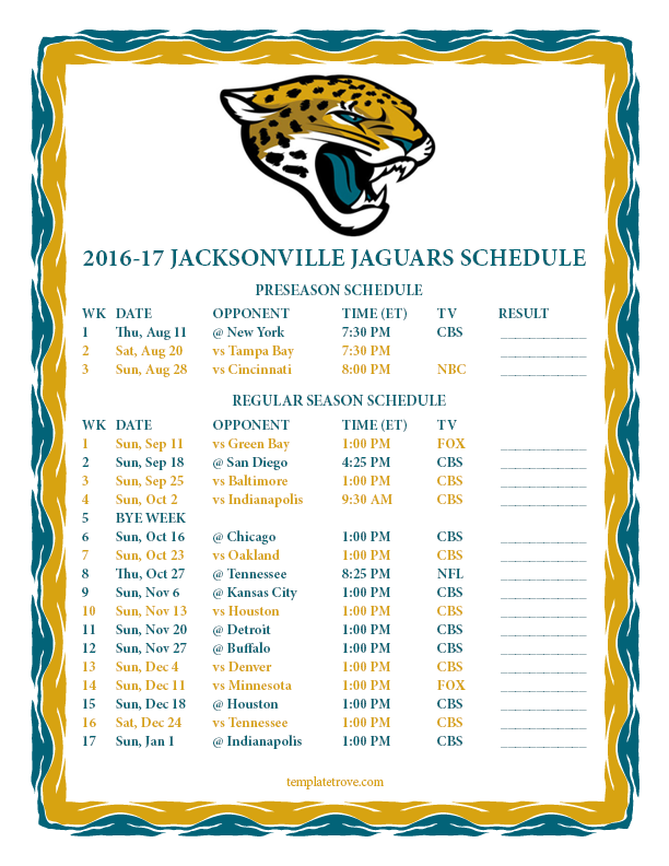 Image Gallery Jaguars Schedule 2016