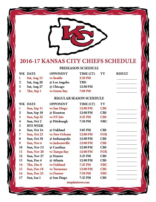 Printable 2016 2017 Kansas City Chiefs Schedule