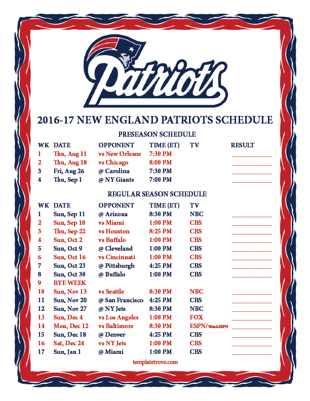Comprehensive image inside new england patriots printable schedule
