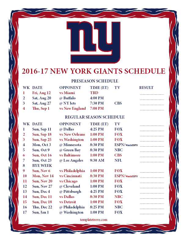 Terrible image throughout ny giants printable schedule