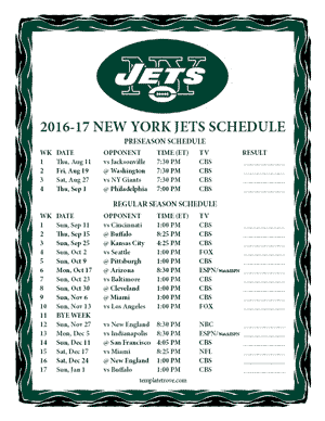 New York Jets 2016-17 Printable Schedule