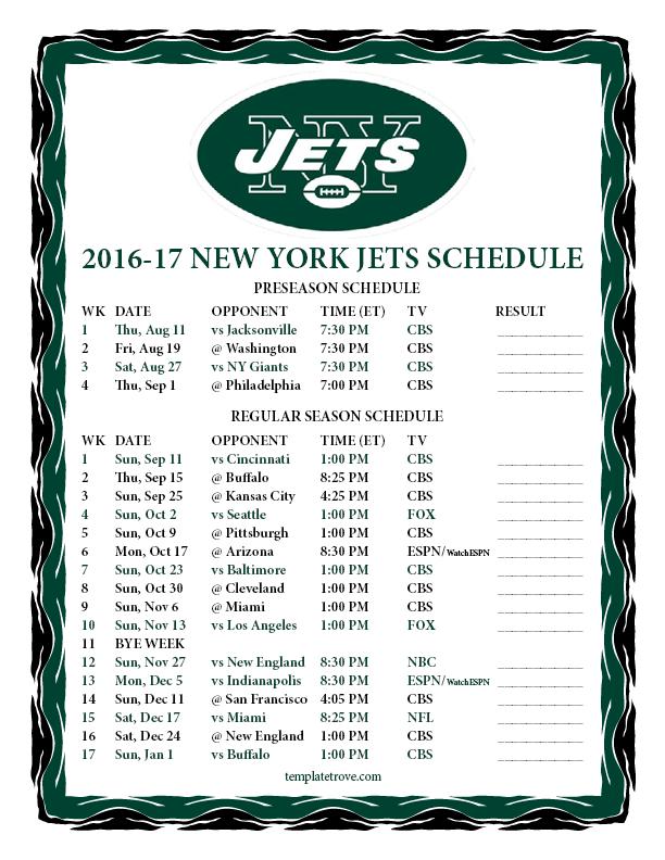 Printable 2016-2017 New York Jets Schedule
