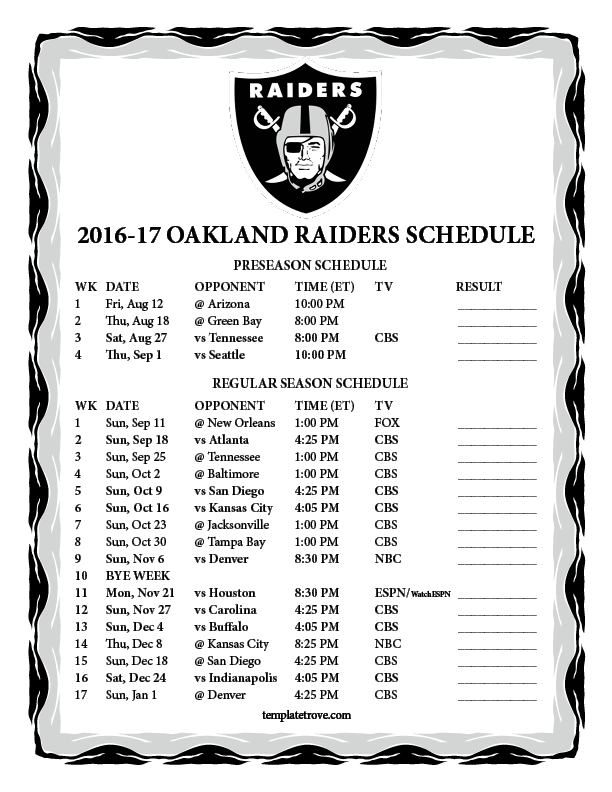 Image Gallery Raiders Schedule 2017 2018