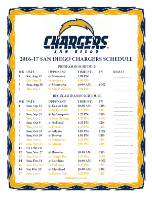 San Diego Chargers 2016-17 Printable Schedule
