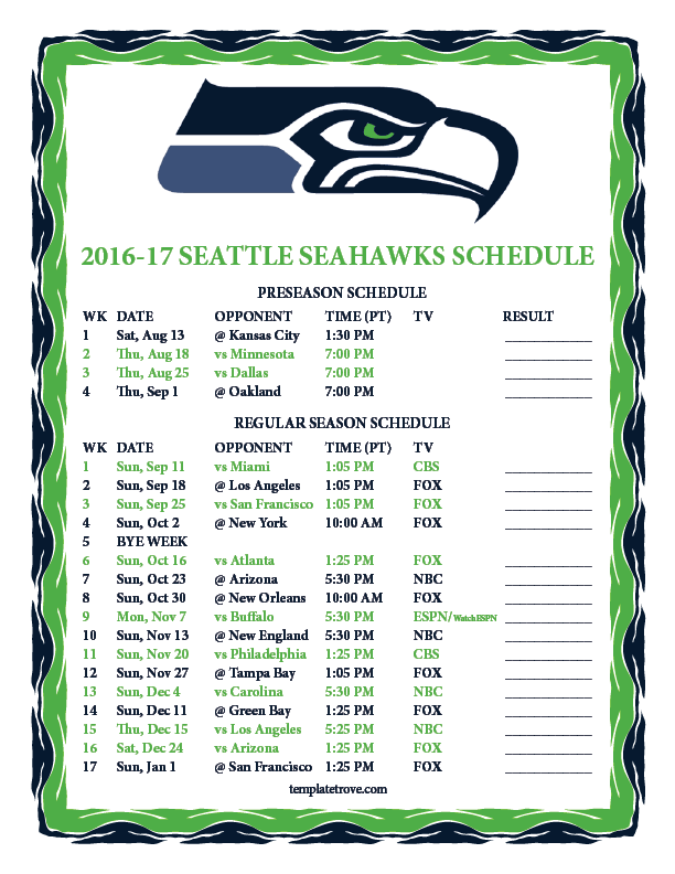 Old Fashioned image intended for seattle seahawks schedule printable