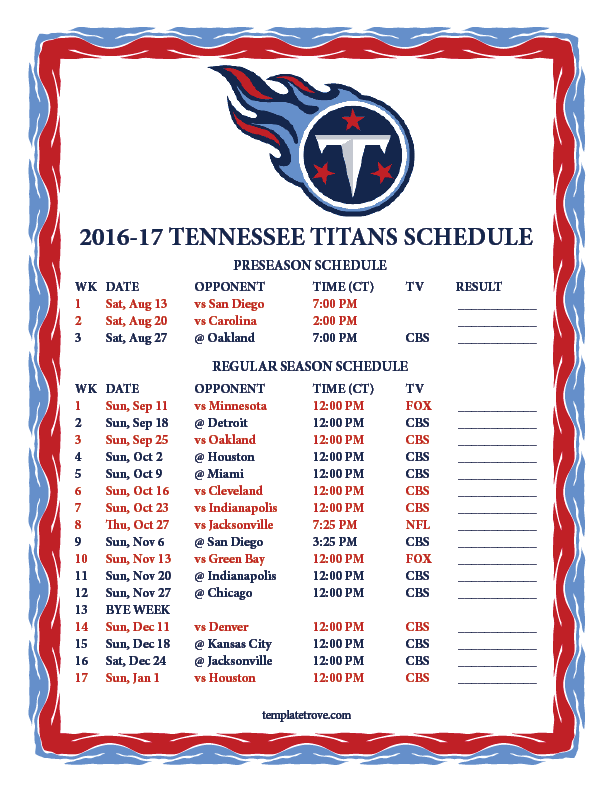 Printable 2016-2017 Tennessee Titans Schedule