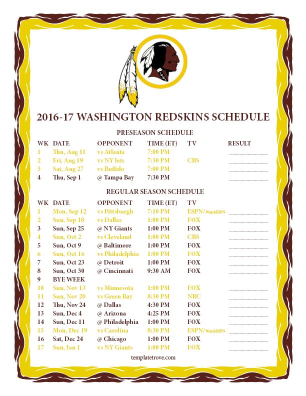 Printable 2016-2017 Washington Redskins Schedule