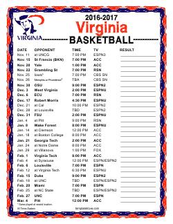 Printable 2016-2017 Virginia Cavaliers Basketball Schedule