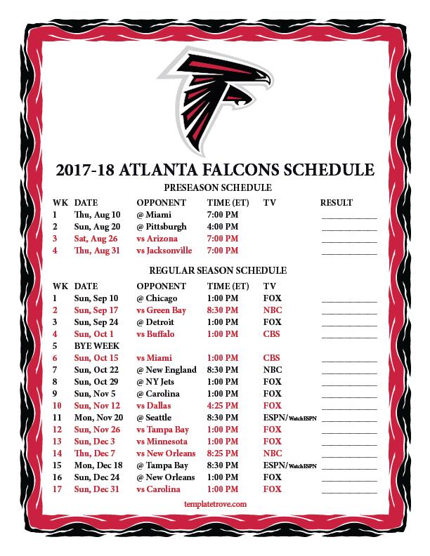 Printable 2017 2018 Atlanta Falcons Schedule