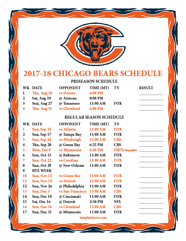 Ridiculous image for chicago bears schedule printable