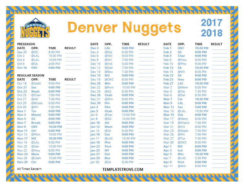 Printable 2017 2018 Denver Nuggets Schedule
