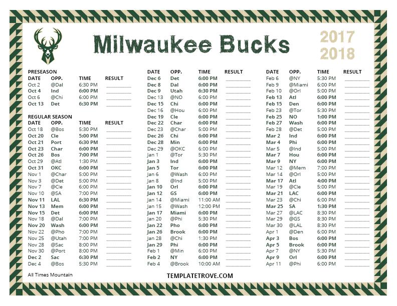 Printable 2017 2018 Milwaukee Bucks Schedule