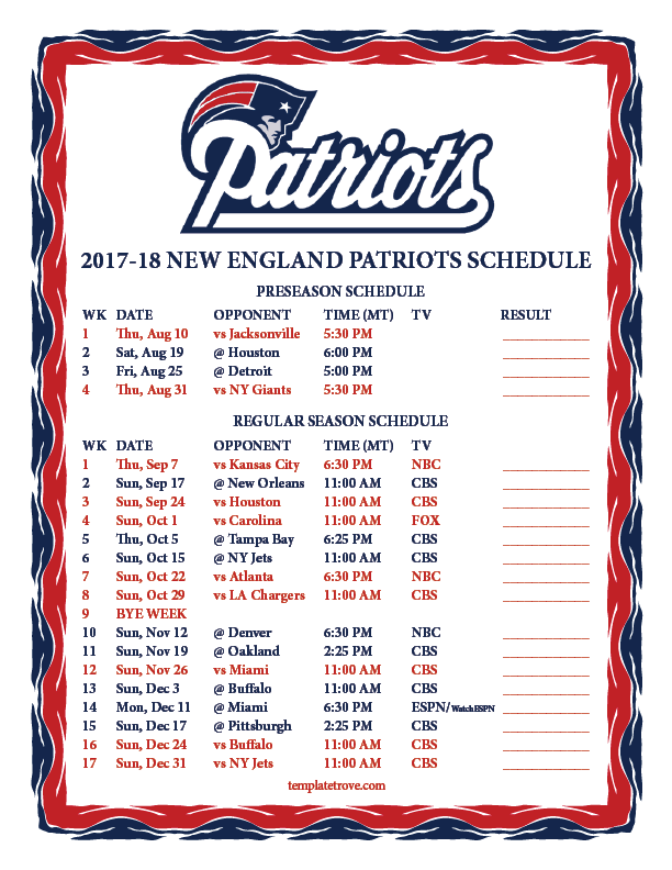 This is a picture of Enterprising Ne Patriots Schedule 2020 Printable