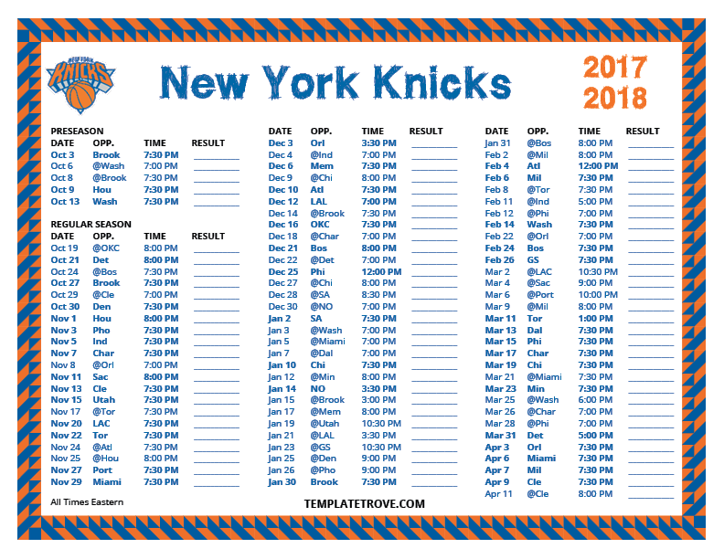 Knicks Schedule