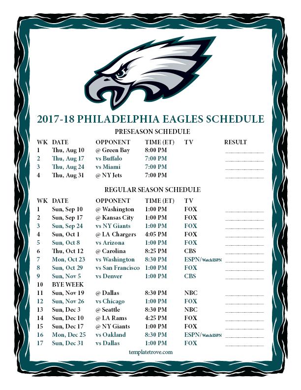 Printable 2017-2018 Philadelphia Eagles Schedule