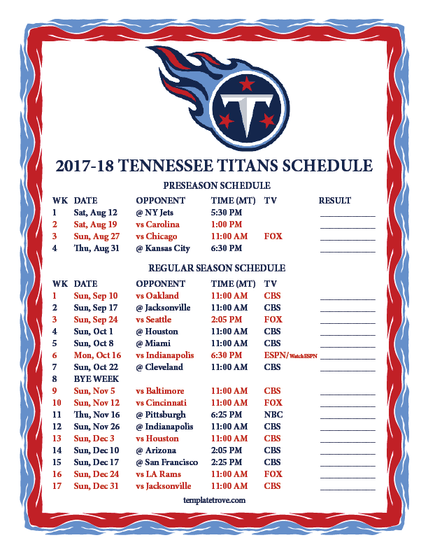 2018 Texans Printable Schedule Central Time