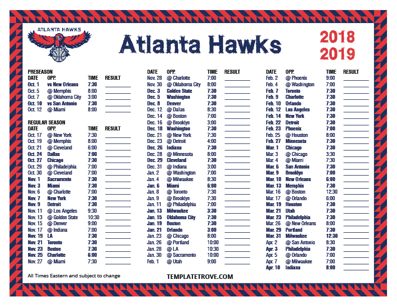 Stupendous image for atlanta hawks printable schedule