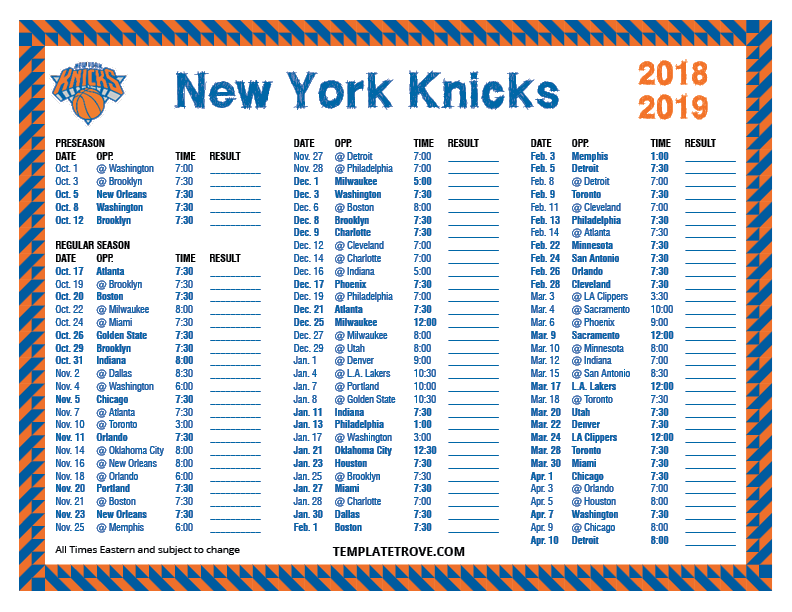 Printable 2018 2019 New York Knicks Schedule