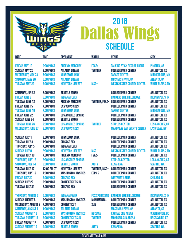 printable2018 dallas wings basketball schedule