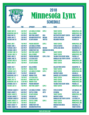 2018-Printable-Minnesota-Lynx-Basketball-Schedule-PNG-300 Microsoft Word Free Newsletter Template on