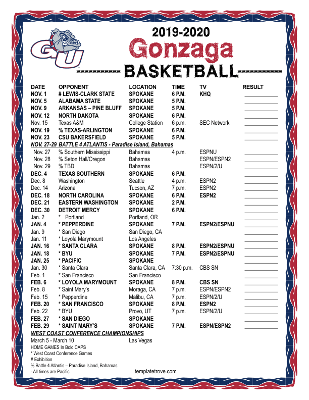 It is a photo of Vibrant Printable Gonzaga Basketball Schedule