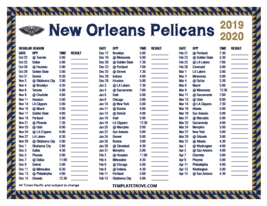 2019-2020-Printable-New-Orleans-Pelicans-Schedule-Pacific-Times-TN Free Newsletter Templates Pre on microsoft word, christmas family, preschool classroom,