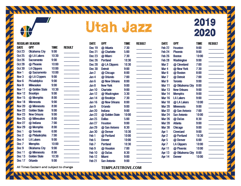 2019-2020-Printable-Utah-Jazz-Schedule Free Newsletter Templates Pre on microsoft word, christmas family, preschool classroom,