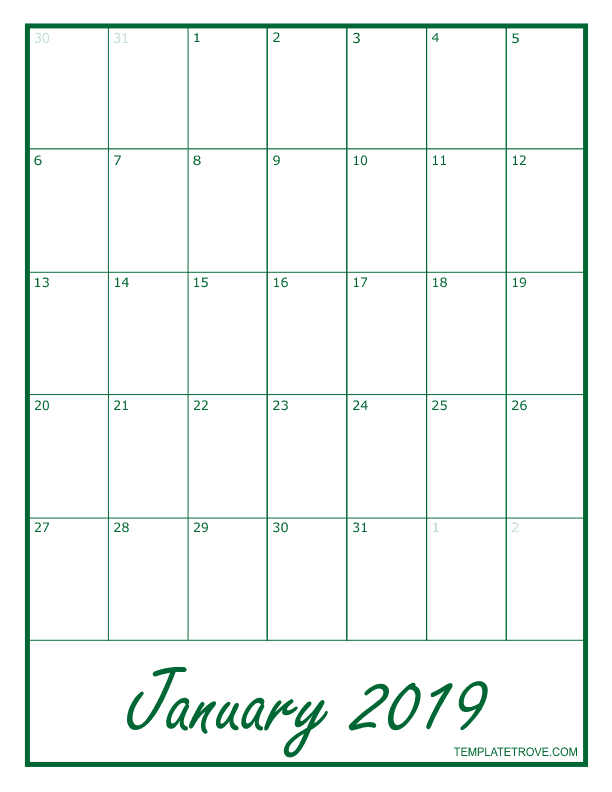 2019-Blank-Monthly-Calendar-PNG-792-Green October Newsletter Template Blank on blue colors, free fillable nurse, summer camp, free open, page monthly, cooperation preschool, company monthly, free editable topical, free editablelandscape,